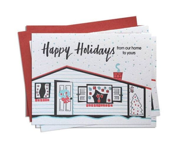 Made in the USA, Hand Drawn, Letterpress Printing, Mid-century are inspired, Christmas, Holiday, Stationary, Cards, Tree-free paper