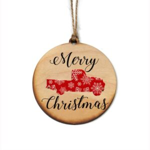 Made in the USA, Christmas Ornament, Wood, Maple, Rustic, Truck,