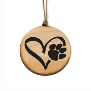 Made in the USA, Christmas Ornament, Wood, Maple, Rustic, Paw Print, Heart, Cats, Dogs, Pets